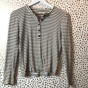 MADEWELL Henley black + white stripe longsleeve SM